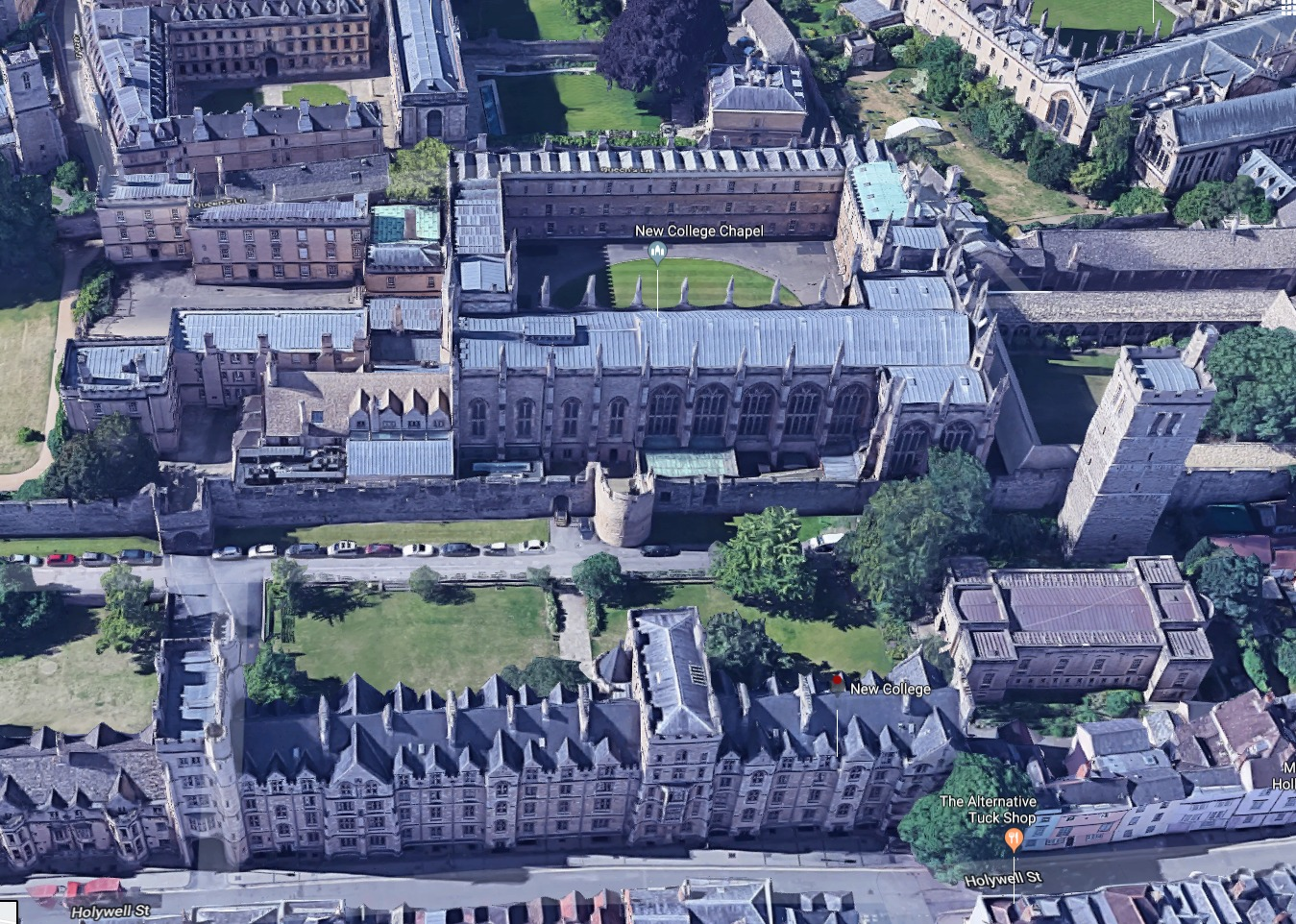 From the skies: New College Chapel which wants a new shed to tidy up its outside space. Pic from Google Maps