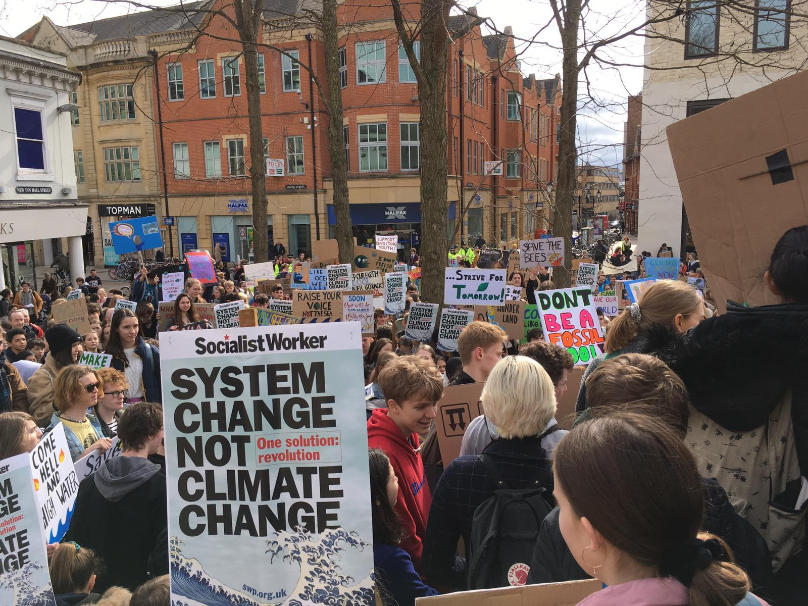 The second school strike in Bonn Square on Friday. Picture: Harrison Jones