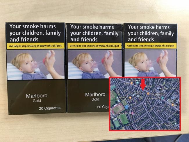 The fake cigarettes which were seized and the location of the store. Map picture: Google Maps