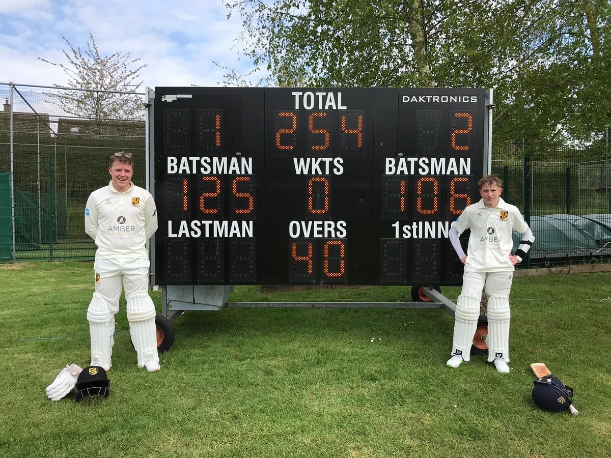 Dylan Driscoll (right) enjoyed a terrific debut aged 13, helping to break a Cumnor record with James Lee which had stood since 1964    Picture: Cumnor CC