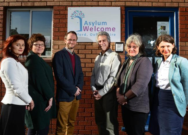 Asylum Welcome staff with some of the team from Oxford employment charity Aspire. Left-to-right, Monica Moldovan (EMBS), Rosa Curness (Aspire), Paul Roberts (Aspire), Almas Farzi (Asylum Welcome), Rachel Wiggans (Asylum Welcome) and Kate Smart (Asylum Wel
