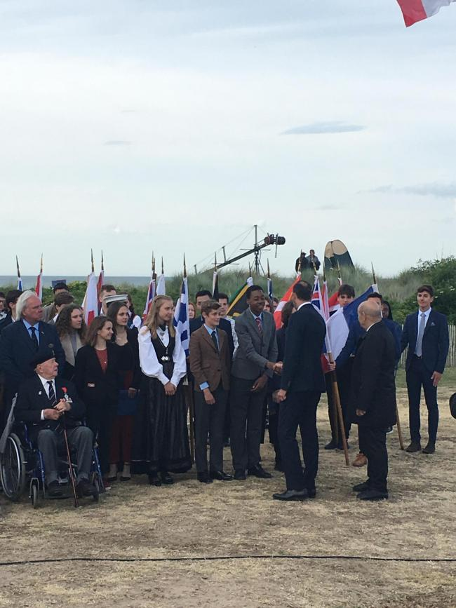 The Summer Fields School pupils meet dignitaries at the Juno Beach ceremony Picture: Christopher Sparrow